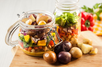 Mason Jar Salad with Little Potatoes and Masala Cream Dressing Sue Spicer 2017 Hi Res