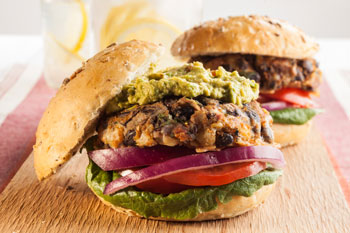 Vegan Bean Burgers with Mashed Little Potatoes Sue Spicer 2017 Hi Res